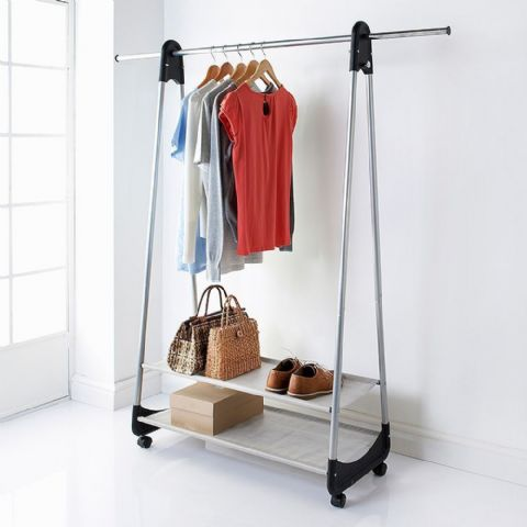 Hanging Rail & Shoe Shelves on Wheels